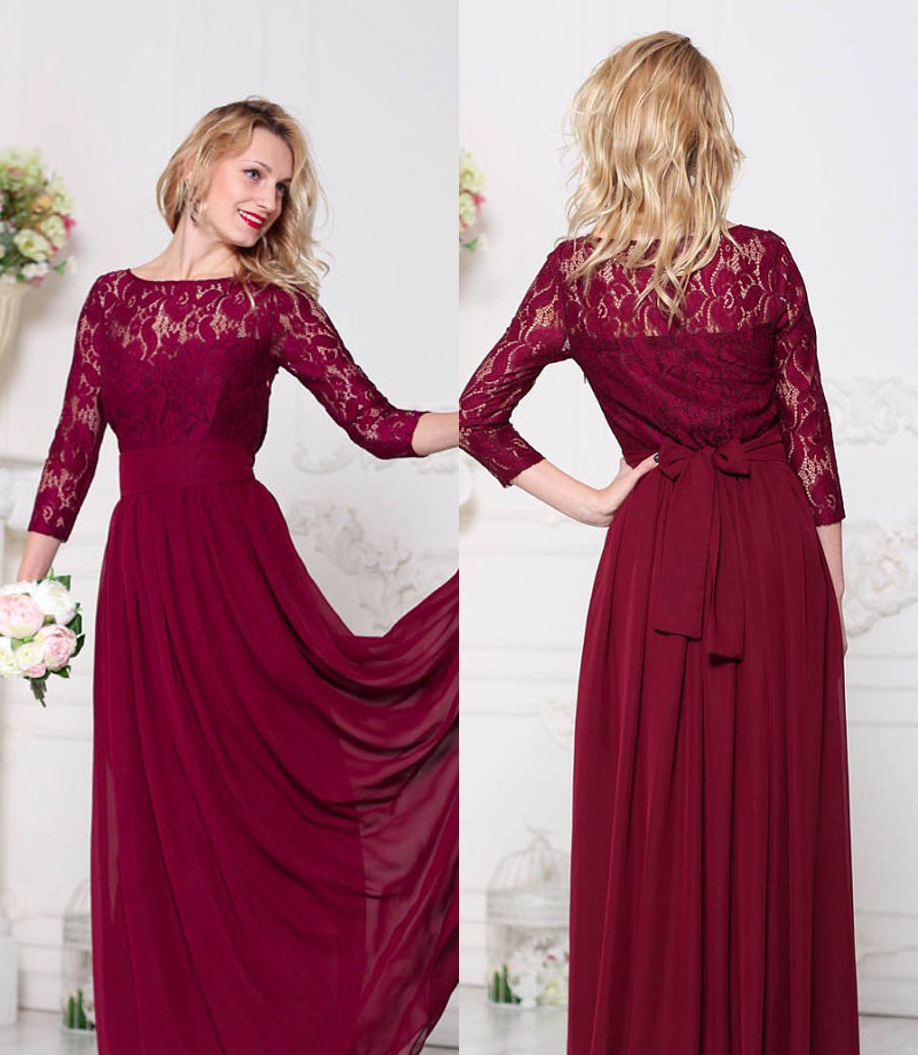 Dark Red Lace Chiffon Modest Bridesmaid Dresses Long With ...