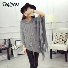 Early autumn female han edition of loose fringed shawl sweater knitting big yards cloak batwing coat with a set of head smock237(China)