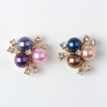 10pcs/lot Pearl Gold Rhinestone Buttons Flatback Embellishment for Craft DIY Hair Bow Bridal Bouquet Metal Decorative