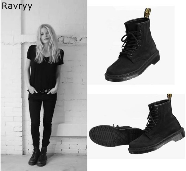 9c0ce2c92cd68 Autumn Fashion Black Suede Leather Woman Ankle Boots Lack Up Short Boots  Flat Heel Street Style Female Motorcycle Short Boots