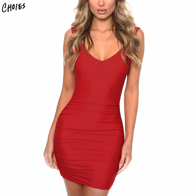 c68d991e93 Red And White Plunge Open Back Ruched Detail Bodycon Mini Dress Women V Neck  Sleeveless Sexy Elegant Backless Party Dresses