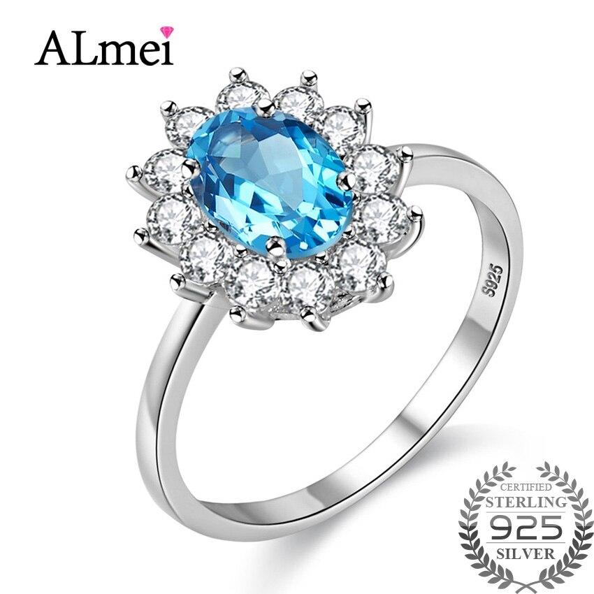Fine Jewelry Jewelry & Accessories Self-Conscious Almei Blue Topaz Diana Wedding Ring For Bridal Female Genuine 925 Sterling Silver Flower Costume Jewelry With Box 10% Cj013