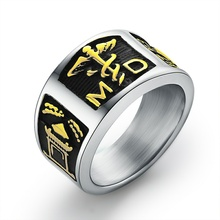 EdgLifU Mens Punk Steel MD Physician Assistant Rings Titanium Stainless Signet Medical Alert ID Jewelry for Men