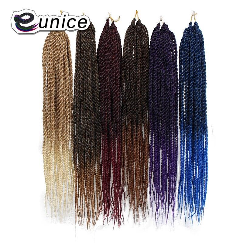 Юнис 18 22 дюймов 26 корни упаковке Сенегальский крутить волосы вязанная косами 12 Цвета Ombre крючком волосы высокая температура волокно плетени... ...
