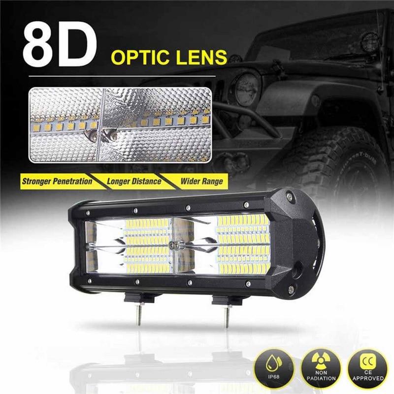 7 zoll 216 Watt 8D Aluminium LED Arbeits-heller Stab Flut Fahren Lampe SUV ATV Offroad 4WD 21600LM