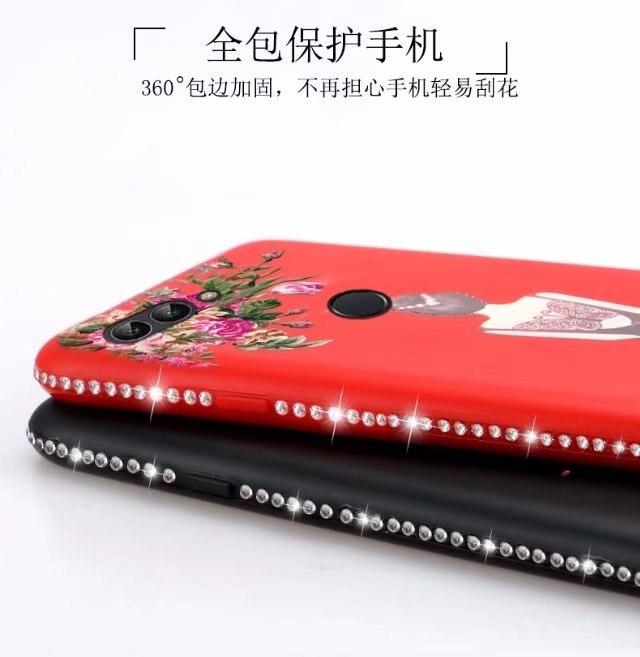 Для Huawei P Smart Case красивая девушка рисунок мягкий тиснением Алмаз защитная задняя крышка Чехол для Huawei наслаждаться 7 s роскошный Shell