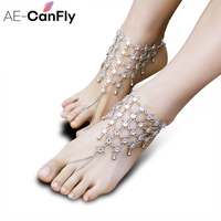 1 PC Vintage Anklet Chain For Women Beach Wedding Foot Jewelry With Full Rhinestone Boho Foot