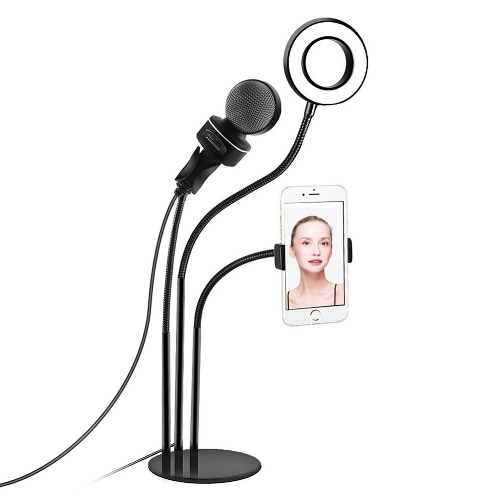 3 in1 Selfie Ring Light with Cellphone Stand & Microphone Holder for Live Stream #2676163 in1 Selfie Ring Light with Cellphone Stand & Microphone Holder for Live Stream #267616
