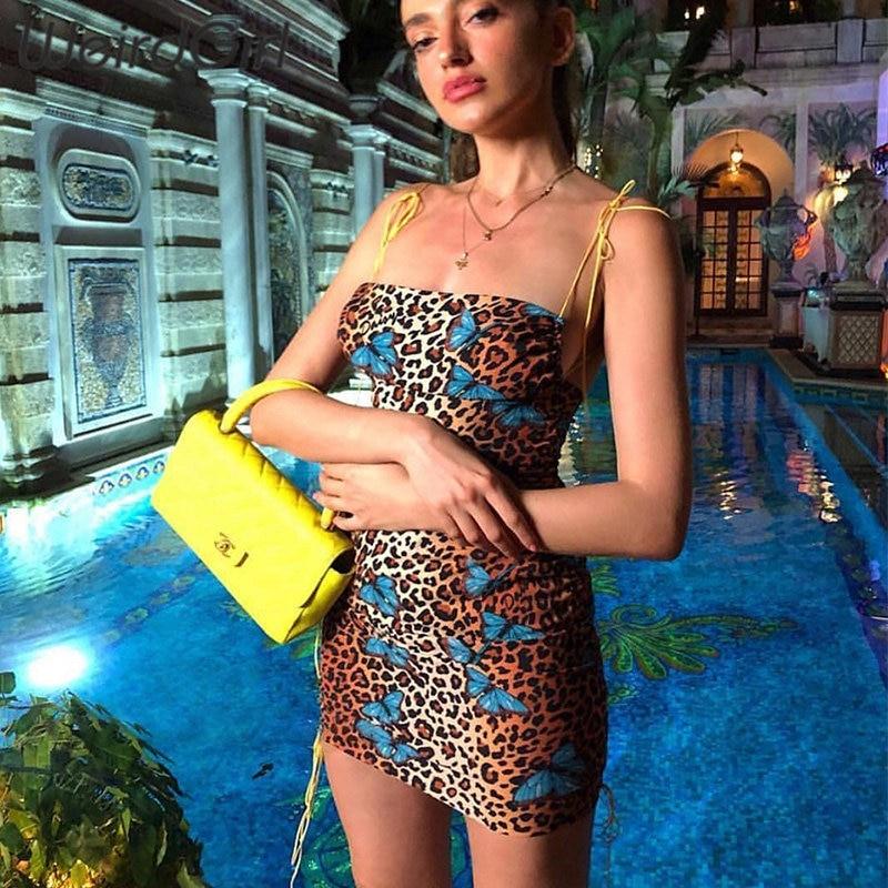 Weirdgirl Women Dress Leopard Butterfly Print Fashion Elegant Femme Straps Stretched Off Shoulder Adjustable Mini Summer New