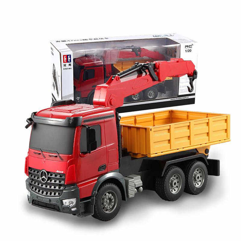 Double Eagle E565-003 1/20 2.4G Arocs Mobil RC Engineering Truck Crane W/Lampu Suara Mainan