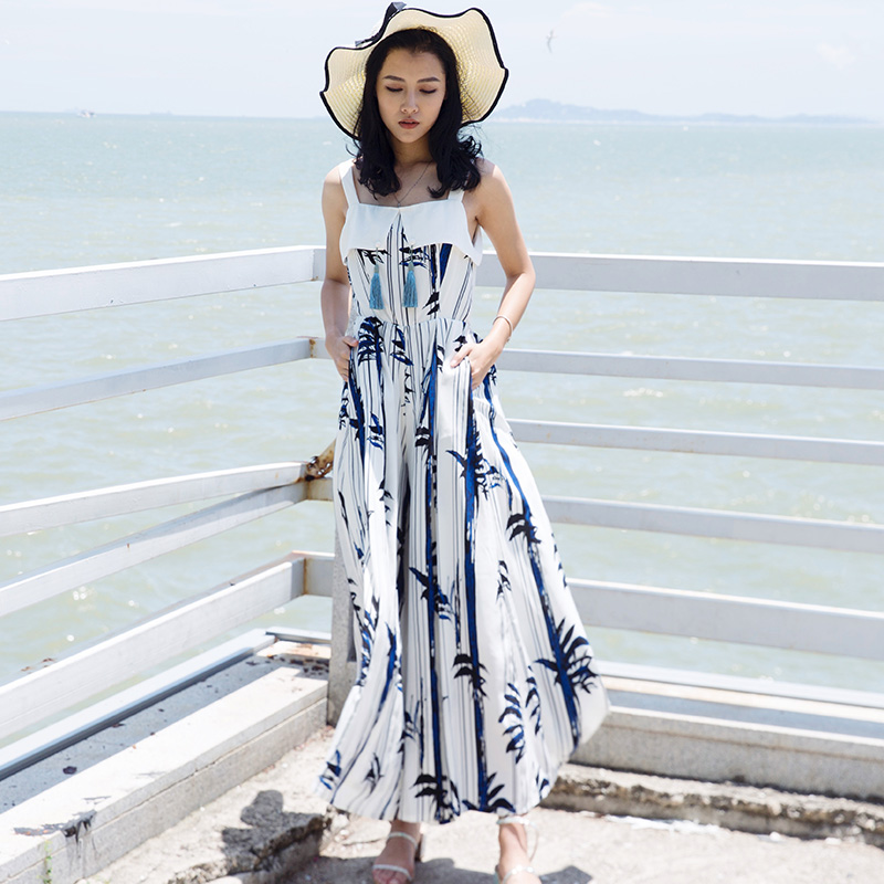 2017 Special Offer Promotion Seaside Resort Beach Bohemia Fringe Skirt Waist Wide Leg Pants Female Dress Loose Chiffon Summer