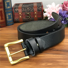 Men Belt Leather Genuine Brass Buckle Vintage Cowboy Jeans Trouser Ceinture Riem MBT0005