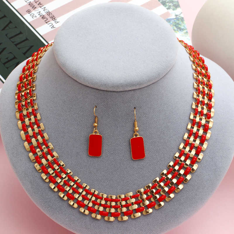 exaggerated indian wedding jewelry sets red drop earrings short choker statement necklace collar valentine days gifts