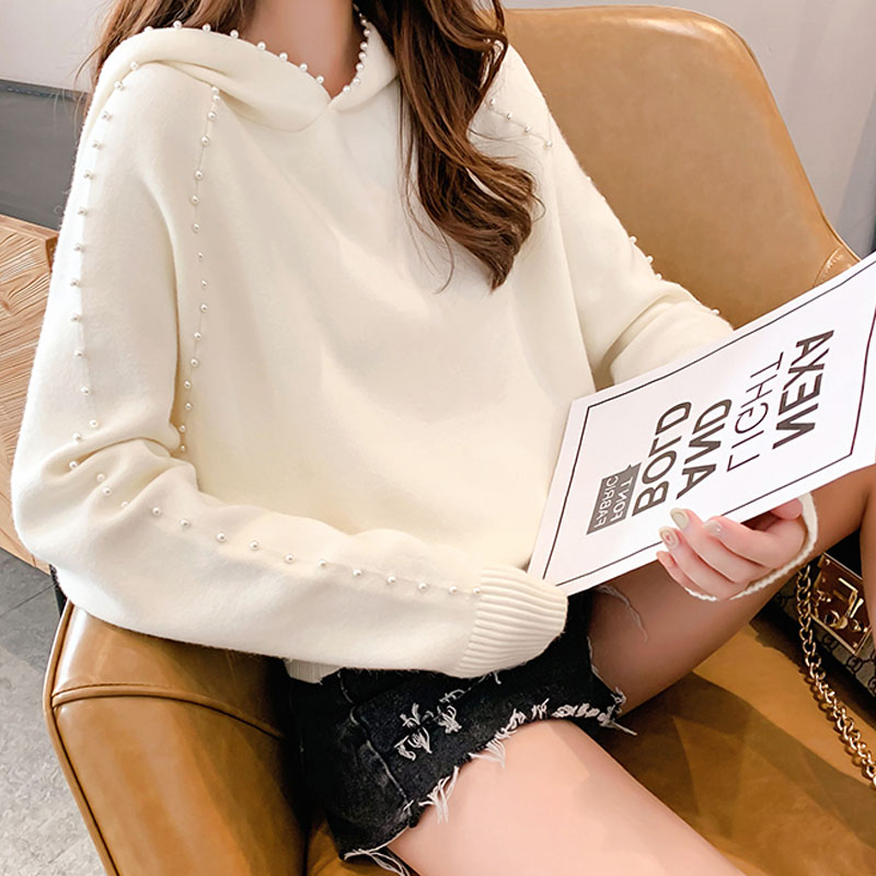 2019 Autumn/winter Women Sweaters Computer Knitted Casual Hooded Pullovers Beading Solid Women Sweaters and Pullovers 5194 50 27
