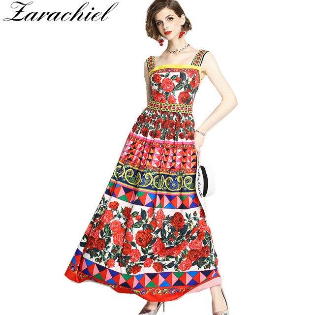 34383b36d02 Brand 2018 Runway Maxi Dress Summer Cute Women Luxury Rose Floral Print  Spaghetti Strap Dresses Party