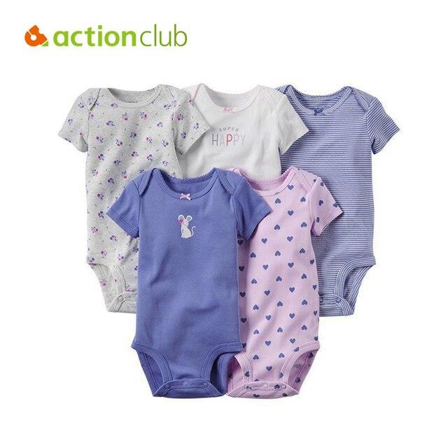 5Pcs Baby Clothing For Baby Girl Boy Bodysuit Short Sleeve Newborn Infant Jumpsuits Kids Summer Clothing Set Baby Clothes HK1206