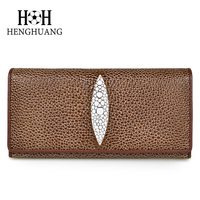 HH New Stingray Skin Genuine Leather Women Wallet Luxury 2017 Fashion Cow Leather Hasp Long Wallets