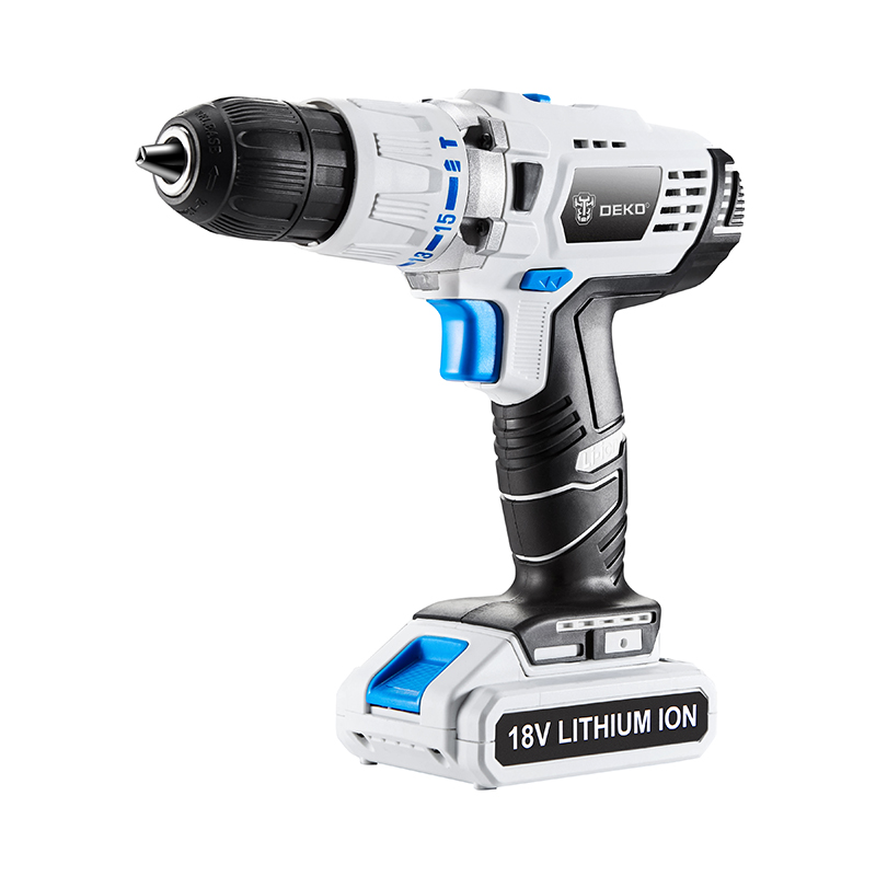 Electric Drill 18V DC Lithium Battery Power Tools Impact DIY Home Hammer Cordless Drill White Multi-function Screwdriver
