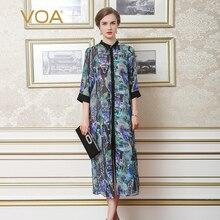 Blusas Femininas VOA Silk Women Blouses Short Sleeves Print Turn-Down Collar Plus Size Women Clothing Women Tops A7027