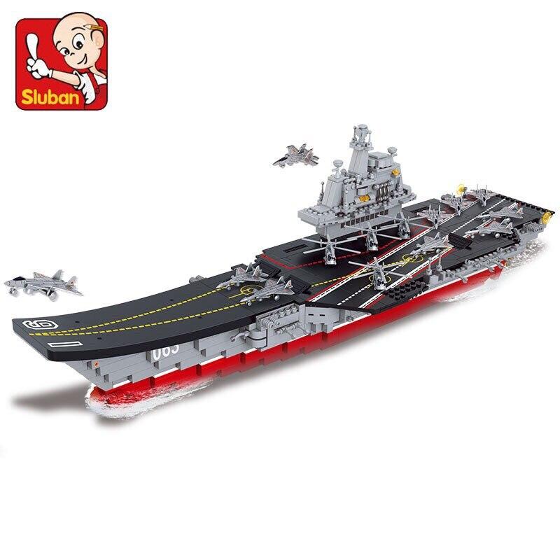 Sluban 1059PCS China military brick building module aircraft carrier Liaoning educational toy building educational toys