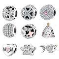 925 Del Grano Del Encanto Fit Pandora Charms Pulseras Originales Con Clear Cubic Zirconia Jewelry DIY 2016 Estilo de Invierno Auténtico Berloque