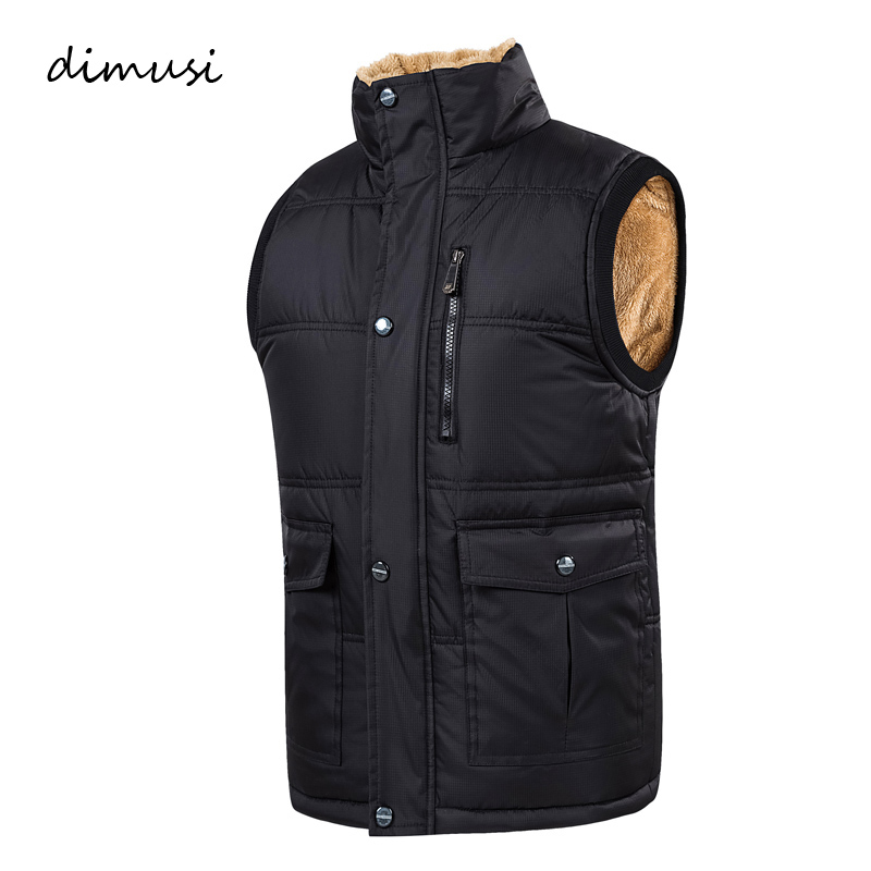 DIMUSI Autumn Winter Men Vest Male Cotton Thick Warm Waistcoat Fleece Thermal Soft Vests Mens Windproof Sleeveless Jacket 7XL
