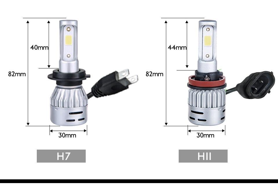Aceersun H4 LED H7 Car Headlight H1 H8 H9 9005 9006 8000lm 4300K 6500K MINI 72W Auto Hi Lo Beam 12V And 5V USB Small stage light (21)