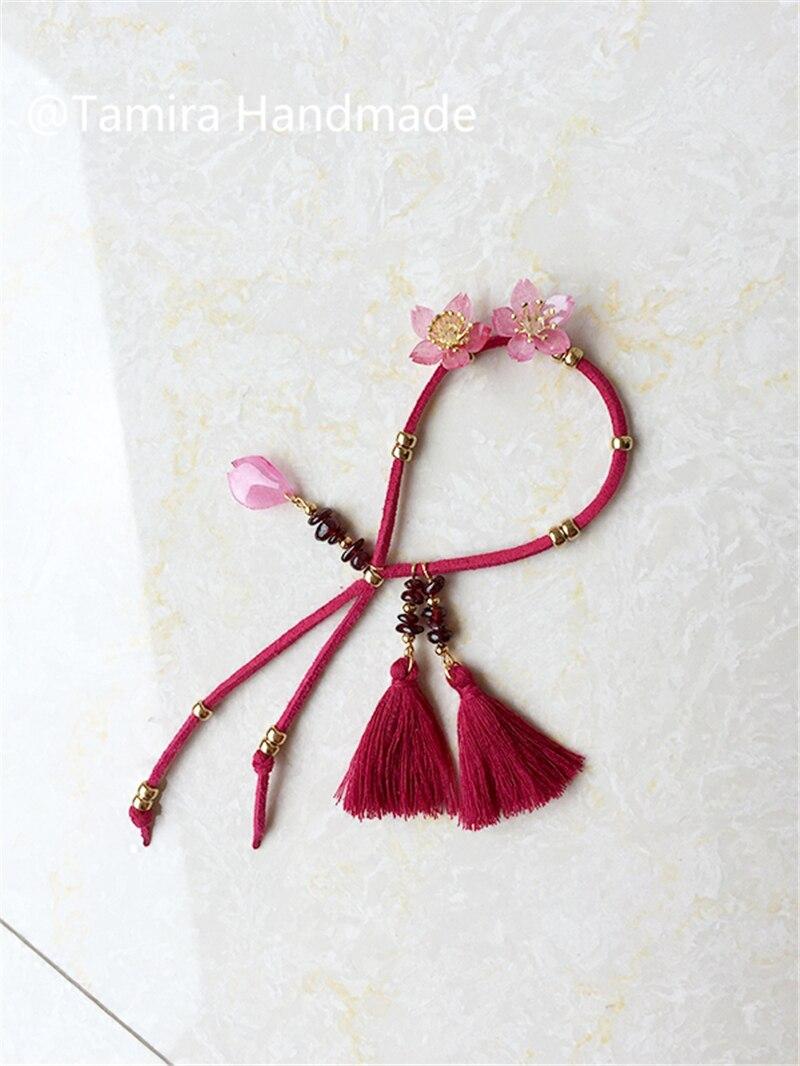Accessoires de ceinture de base ceinture en velours grenat fait à la main Bracelet rétractable dink bijoux ST81