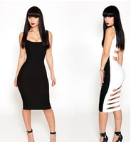 2014 New Design Women Summer Bandage Dresses Sexy Perspective Party Bare Midriff 1pcs White Jumpsuit S