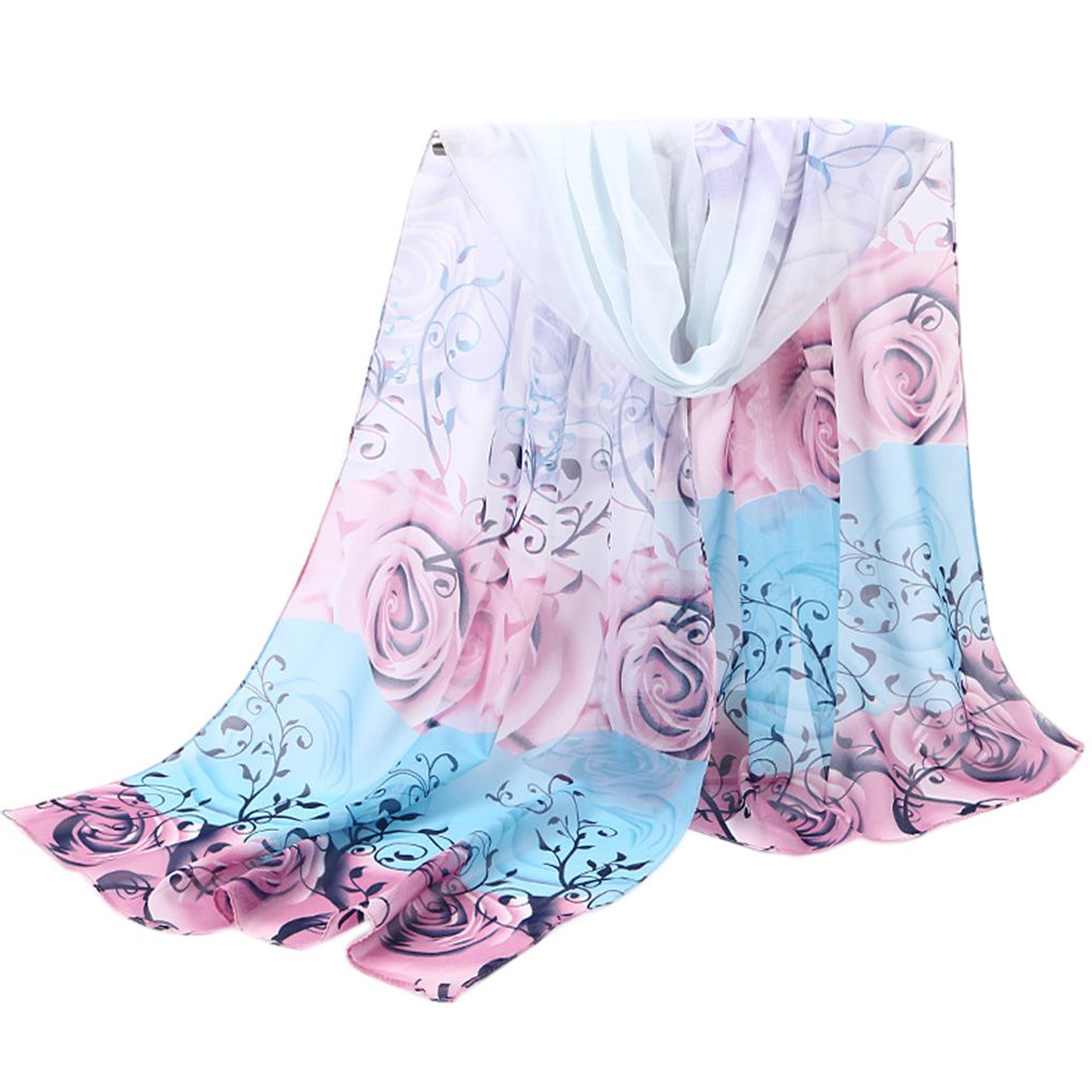 2019 Floral Print Chiffon Summer Anti Sunshine   Scarf   Shawls Long Beach   Scarves     Wraps   47x155cm For Women