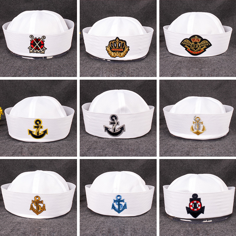 Military Hats For Adult Sailors Captain White Hat Navy Marine Cap Anchor Sea Boating Kids Children Party Cosplay Festival Hats