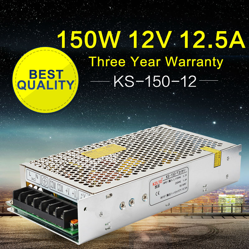 Switching Power Supply <font><b>220V</b></font> to 12V <font><b>150W</b></font> <font><b>lED</b></font> Driver Power AC to DC Converter for <font><b>LED</b></font> Street Light Stage Lighting <font><b>LED</b></font> Display