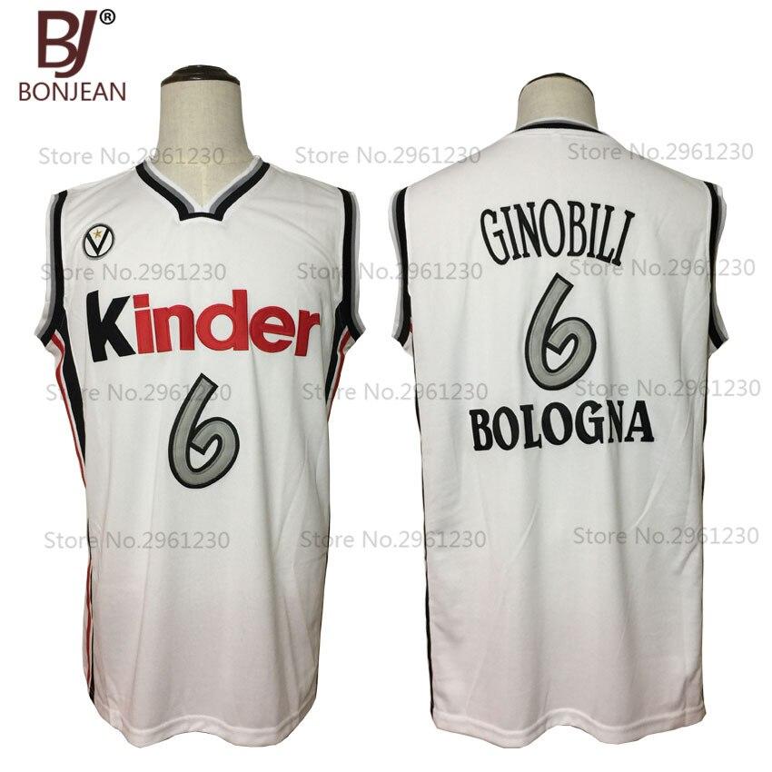 BONJEAN Neue Throwback Günstige Manu Ginobili 6 Virtus Kinder Bologna Europäischen Basketball Jersey Weiß Genähtes Retro Herren Hemden