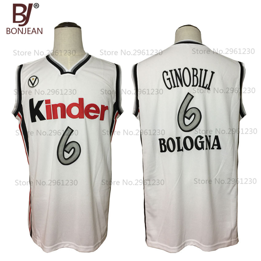 цена на BONJEAN New Throwback Cheap Manu Ginobili 6 Virtus Kinder Bologna European Basketball Jersey White Stitched Retro Mens Shirts