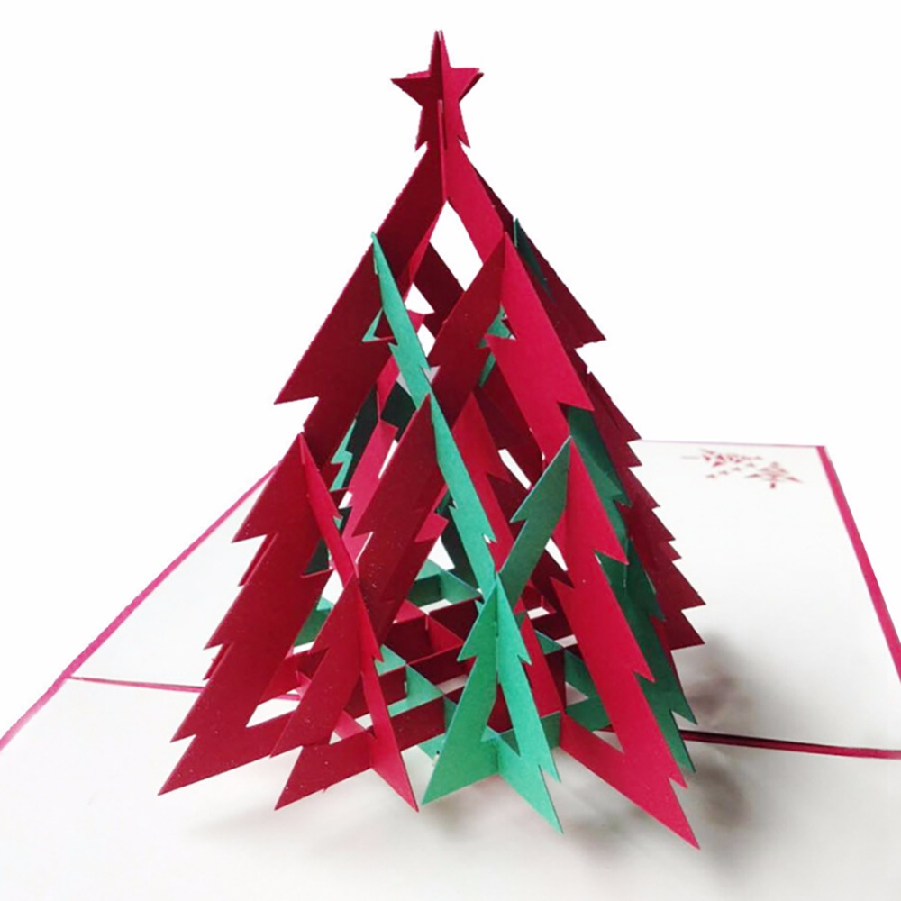 3D Happy Tree Christmas Cards Greeting Handmade Paper Card ...