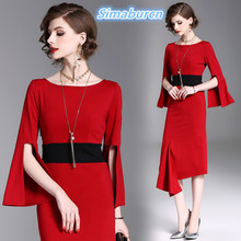 Womens Spring Vintage Asymmetrical Dresses 2018 Europe and United States Brand Autumn Femme Dress Casual Ladies Long Dress XXL womens spring off the shoulder dresses 2018 europe and united states brand autumn female print dress casual ladies long dress