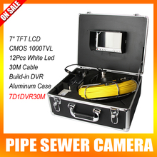 "Color 1000TVL 30m Cable 7"" TFT LCD Drain Inspection Camera With DVR Borescope Pipe Sewer Camera Portable Aluminum Case"