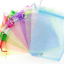50pcs Drawable Organza Bags Wedding Gift 7x9 Small Jewelry Packaging Bag Tulle Fabric Sheer