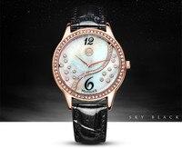 Nowy Stylowy Europejski Vogue Dziewczyny Moda Kryształy Powłoki Dress Wrist watch Skórzany Studentów Analogowe Zegarki Kwarcowe Relojes NW7389