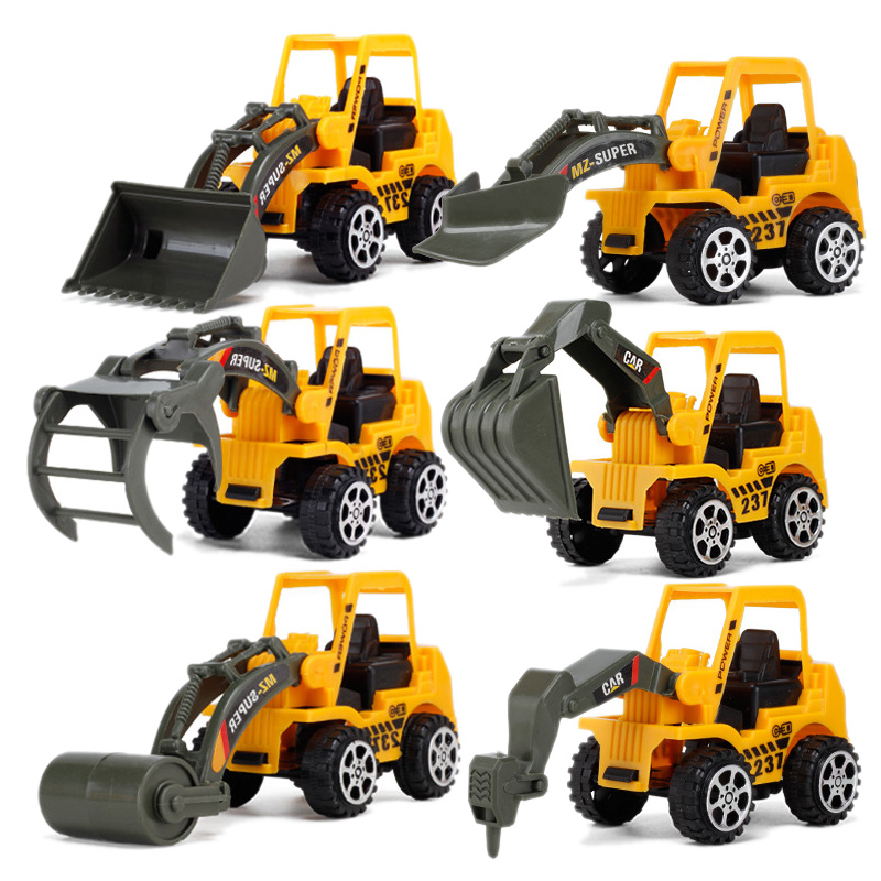 6 Styles Mini Diecast Plastic Construction Vehicle Engineering Cars Excavator Model Toys For Children Boys Gift image