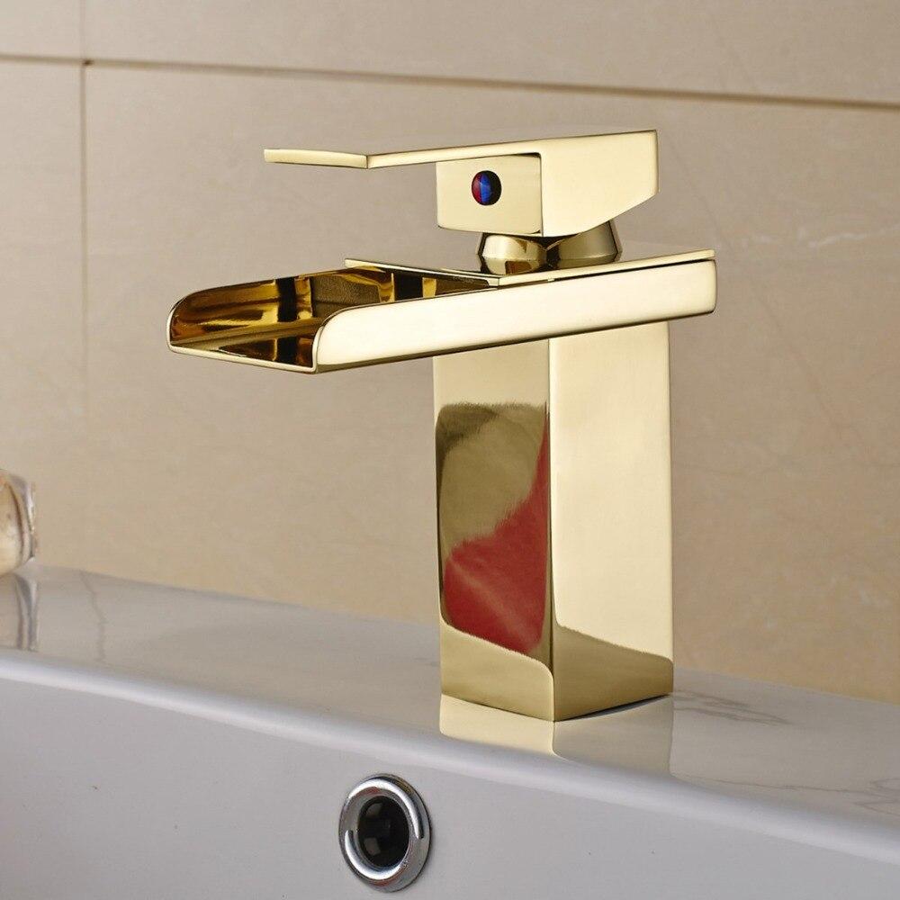 Montage sur pont or mitigeur cascade salle de bain robinet vanité navire éviers mélangeur robinet eau froide et chaude