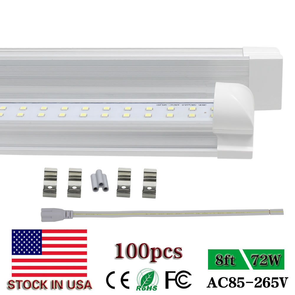 Led Tube Lights <font><b>T8</b></font> Integrated Double Row SMD2835 8ft LED strip bar Light fluorescent bulb fixture <font><b>plug</b></font> and play 72W AC85 277V image