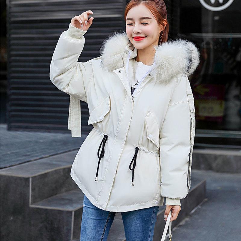 Plus Size   Parkas   2018 New Winter Jacket Women Hooded Winter Coat Women Loose Fur Collar Short Womens Coats And Down Jackets