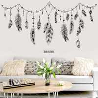 black boho feathers wall stickers for bedroom living room bathroom bar kitchen wall decor removable art decals mural diy dc8