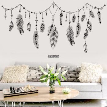 Boho Feather Wall Stickers