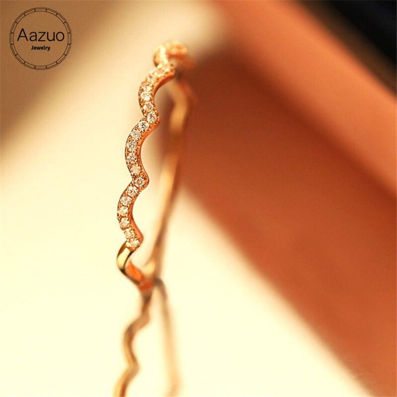 Aazuo 100% 18 K or Rose véritable diamant unique ligne ondulée forme anneau pour femme charme bijoux mode amour cadeau minuscule mince Au750