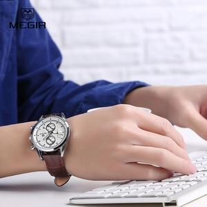 Image 5 - Megir 새로운 패션 군사 가죽 쿼츠 시계 남자 럭셔리 빛나는 크로노 그래프 아날로그 시계 남자 손목 시계 무료 배송 5005
