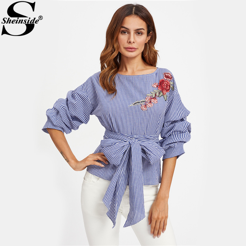 Sheinside Gathered Sleeve Embroidered Applique Belted Cotton Plaid Blouse 2017 Autumn Boat Neck 3 4 Sleeve