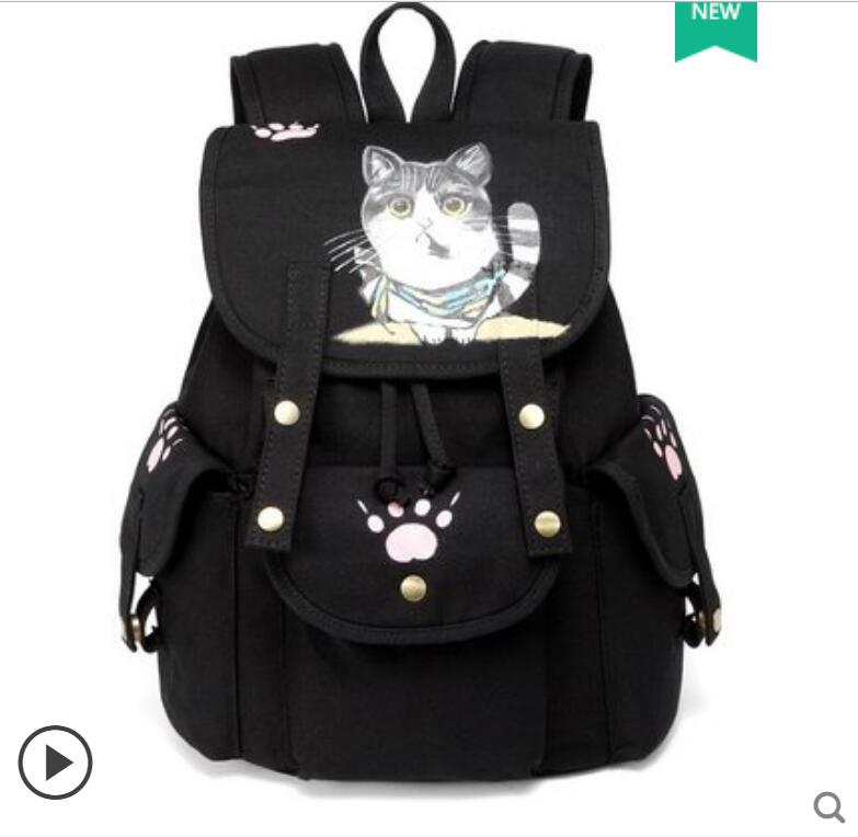 2018 New Backpack Backpack Korean Casual Student Schoolbag Campus Hand-painted Cat Backpack