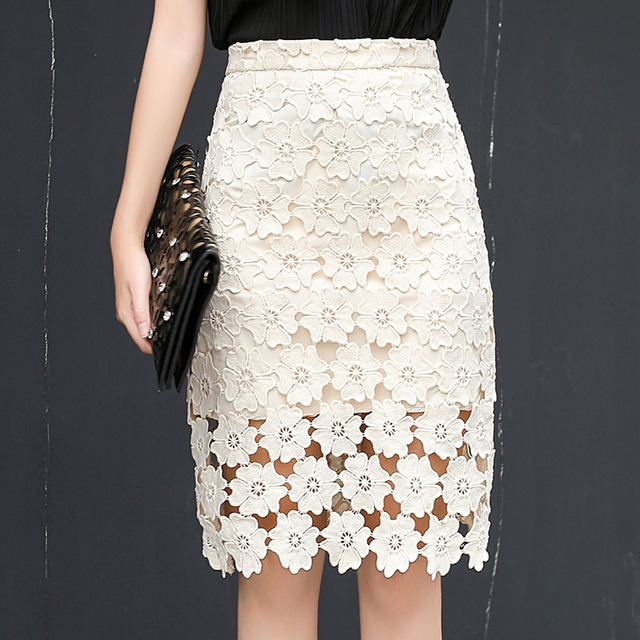 f5c8130b1a3cd 2018 New Spring Summer Women Skirt Korean Style High Quality Hollow Out  Lace Skirt Fashion High